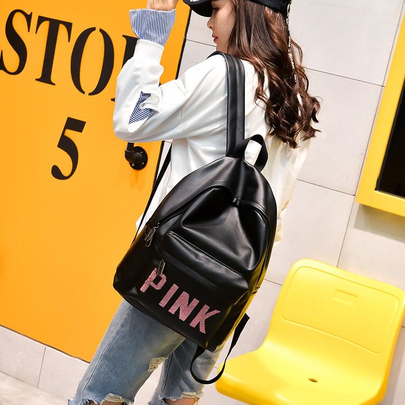Women Leather Backpack Pink Letter Bolsas Mochila Feminina Large Girl Schoolbag Travel Bag School Backpacks Black Bagpack caerlif 2016 women backpacks weave genuine leather school bag for teenagers black women backpack travel bolsas mochila feminina