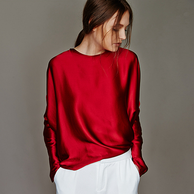 100% Silk Blouse Women Shirt Simple Design O Neck Long Sleeves 2 Colors Translucent Fabric Casual Top New Fashion Spring 2018