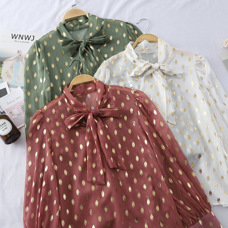 Vintage Bow Collar Full Sleeve Women   Blouse     Shirts   See Through Polka Dot Loose Female   Blouses   Tops 2019 Spring   Shirts   blusas