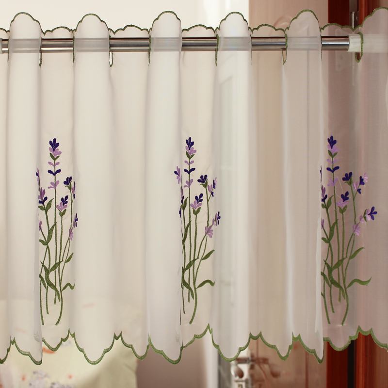 Short Curtains For Kitchen Window Lavender Floral Embroidered Decorative  Curtains For Small Windows