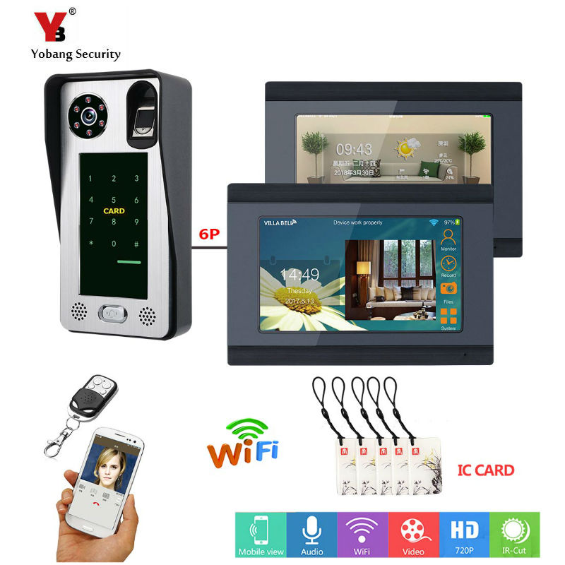 2 Monitors 7inch Wired Wifi Fingerprint IC Card  Video Door Phone Doorbell Intercom System With Door Access Control System