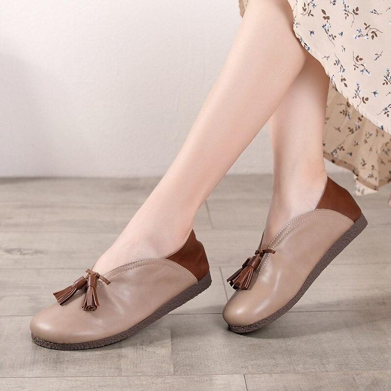 Artdiya Original Style japonais femmes chaussures à la main printemps et automne couleurs mélangées fond plat bout rond chaussures en cuir rétro