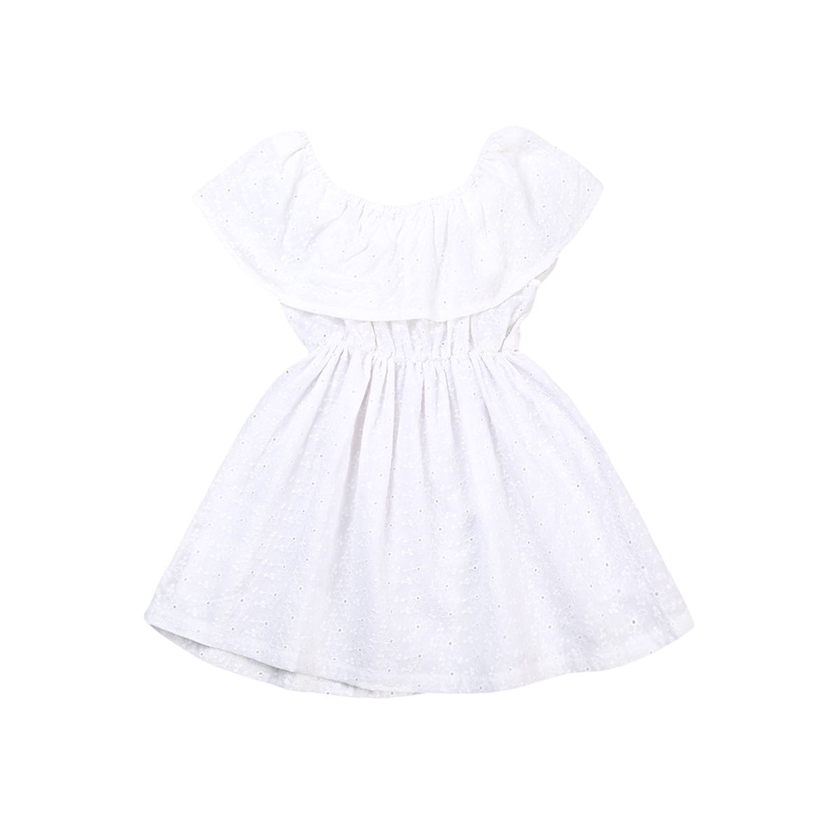 Toddler Kids Baby Girls White Ruffle Dress Off-shoulder Party Gown Formal Dress Children Princess Girl Summer Sundress Clothing 2016 newborn baby rompers cute minnie cartoon 100% cotton baby romper short sleeve infant jumpsuit boy girl baby clothing