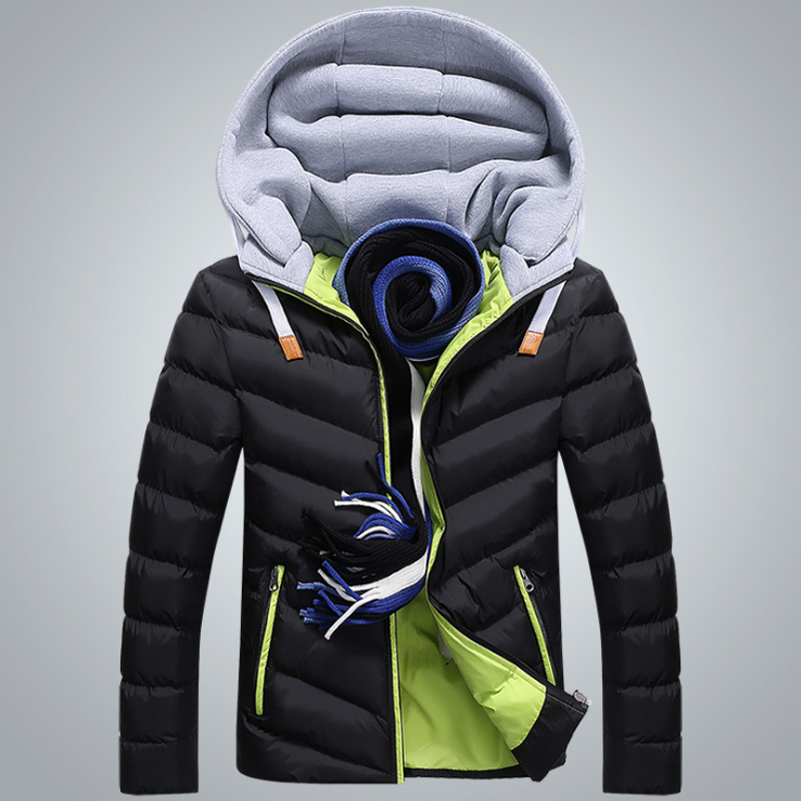 Winter Jacket Men Hat Detachable Warm Coat Cotton-Padded Outwear Mens Coats Jackets Hooded Collar Slim Clothes Thick Parkas X327 2