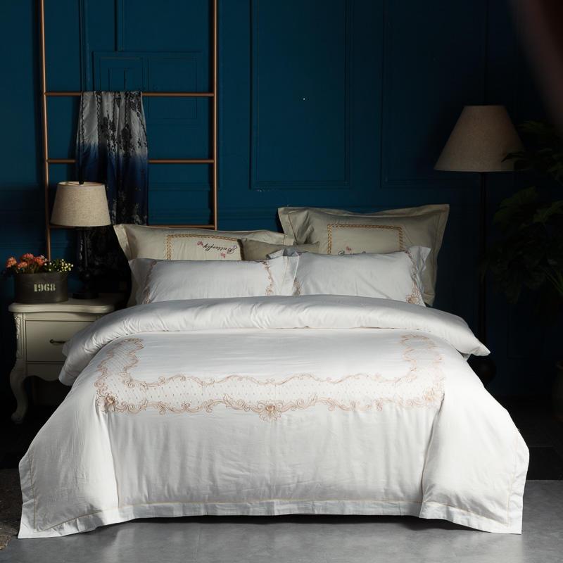 100% Coton Blanc Gris Ensemble de Literie Reine King size lit ensemble linge de lit Drap de lit de Broderie housse de Couette parrure de lit ropa de cama