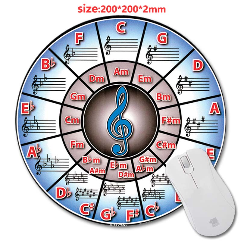 Circle of fifths piano New Arrivals Round Gaming Mouse Mat Custom Your Styles Non-Slip Computer Laptop 200X200X2 Mouse Pad