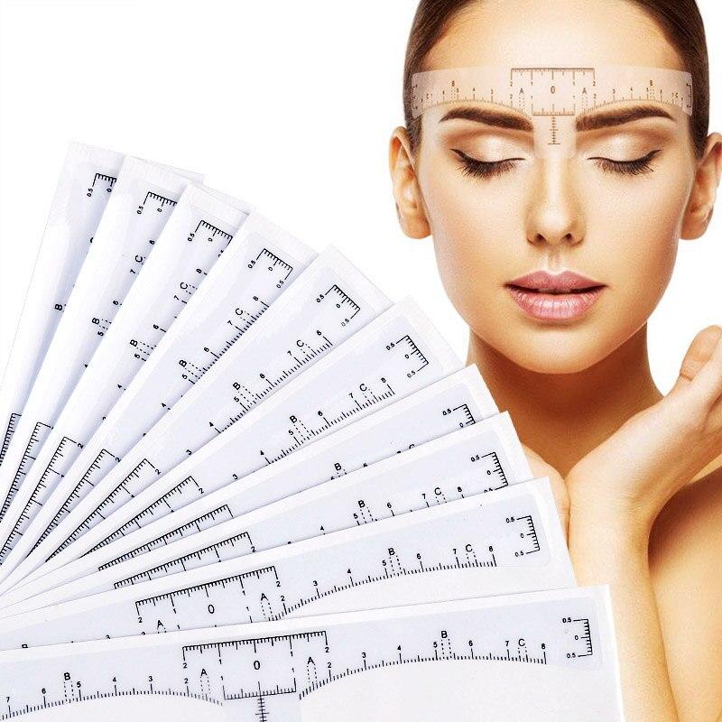 10pcs/sets Women Makeup Tools Eyebrow Design Ruler Transparent Self Adhesive Disposable Accurate Measure Eyebrow Guide Ruler