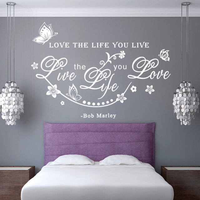 Great Bob Love English Sentence Wall Decals Quotes Love The Life You Live For  Home Room Removable
