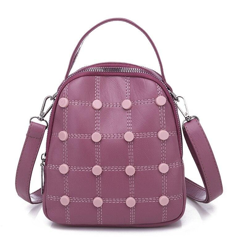 Women Backpacks Fashion-Bag Small Girls Pu Zipper Rivet