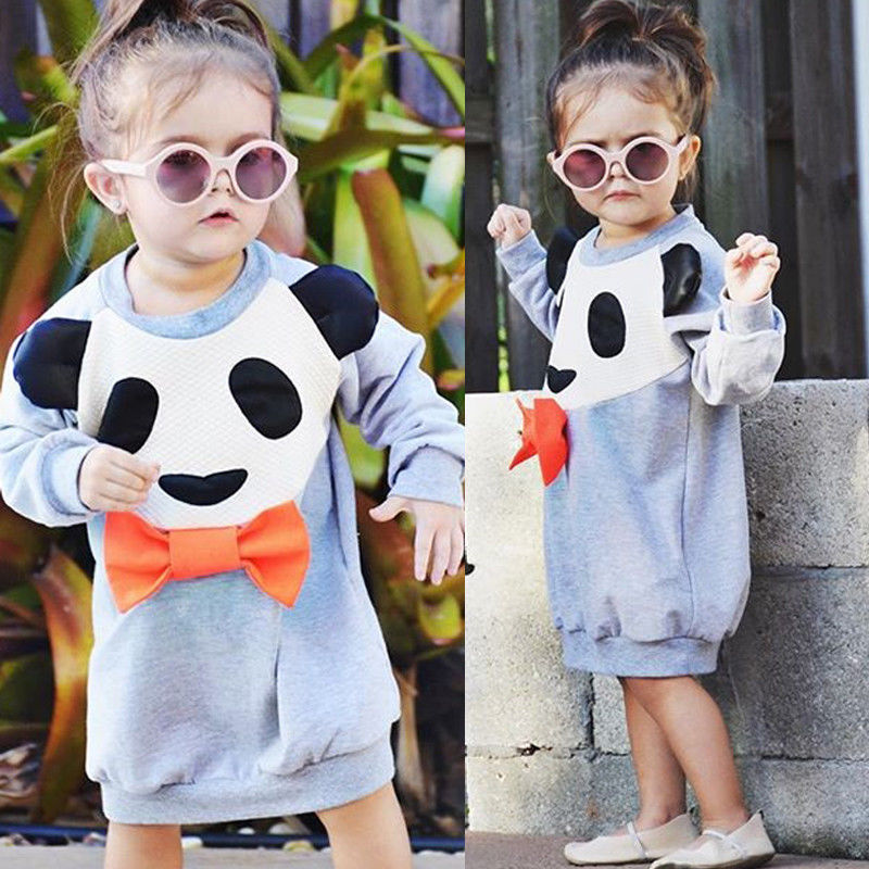 Toddler Kids Baby Girl Long Sleeve Panda Dress 1-5Y