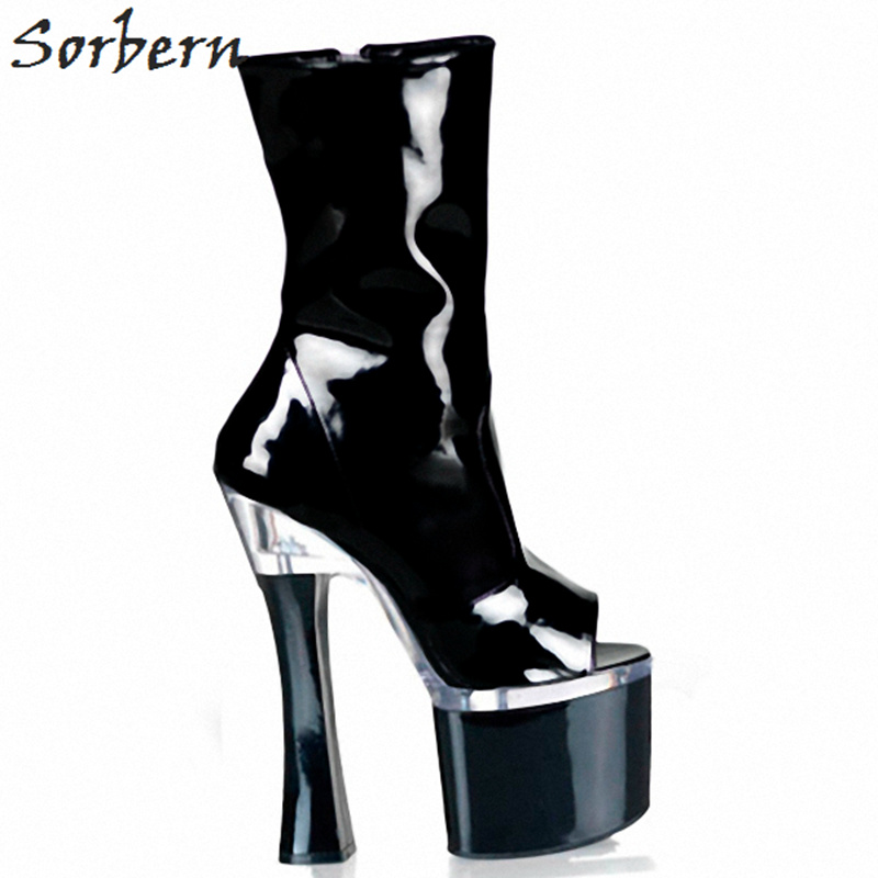 Sorbern 18Cm Square High Heels Ankle Boots Women Shoe Open Toe Perspex Heels Unique Shoes Custom Womens Rubber Boots Plus SizeSorbern 18Cm Square High Heels Ankle Boots Women Shoe Open Toe Perspex Heels Unique Shoes Custom Womens Rubber Boots Plus Size