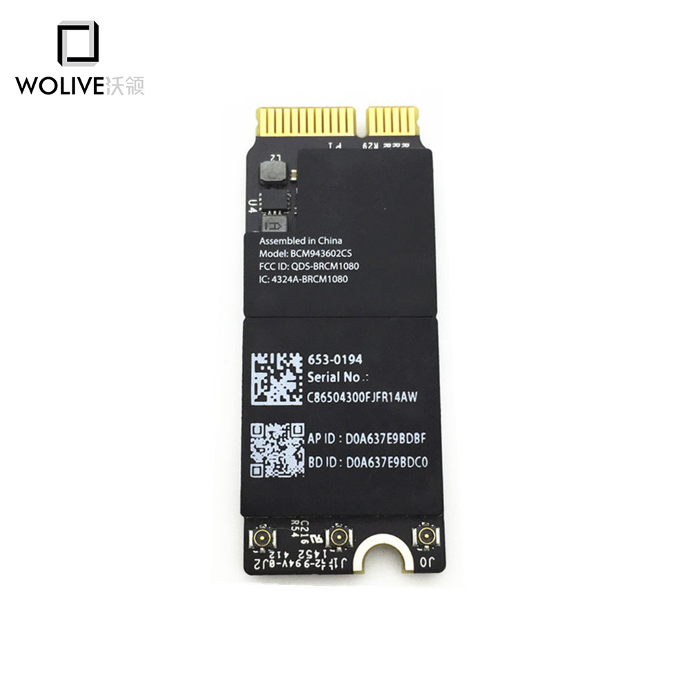 Wolive New WiFi Airport Bluetooth 4.0 Card BCM943602CS 653-0194 For Macbook Pro A1425 A1502 A1398 Exceed BCM4360(China)
