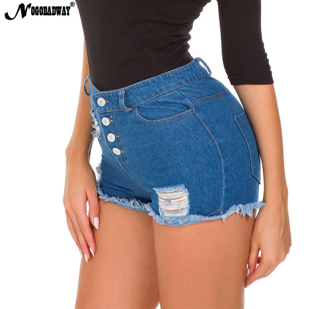 0f6a97d7f3 ... 2019 back zipper sexy short jeans shorts for women ripped hole denim  hot shorts causal button ...