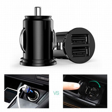3.1A Dual USB Mini Car Charger Mobile Phone Tablet GPS Universal Fast charging Auto Charge Adapter(China)