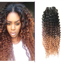 Full Shine One Bundle Hair Weft Three Tone Color 1B Ombre 4 Fading to Color 30 Brazilian 100% Real Human Hair Bundle Weaving