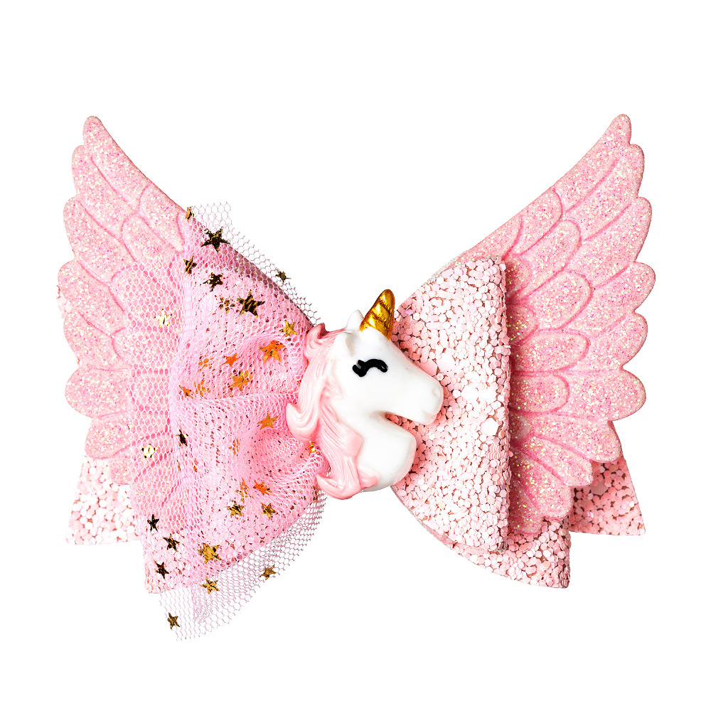 Thumblina Unicorn Wing Princess Hairgrips Glitter Hair Bows With Clip Dance Party Bow Hair Clip Girls Hairpin Hair Accessories