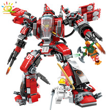 737pcs Ninjaed Movie Red Mech Building Blocks Compatible Legoed Ninjagoes Kai Fire Robot Figures Bricks Educational Toys For Kid(China)