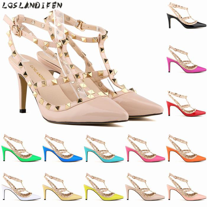 Loslandifen High Heels Sandals Women Sexy Pointed Toe Rivets Patent Leather Evening High Heel Shoes Ladies T Strap Party Pumps luxury brand crystal patent leather sandals women high heels thick heel women shoes with heels wedding shoes ladies silver pumps
