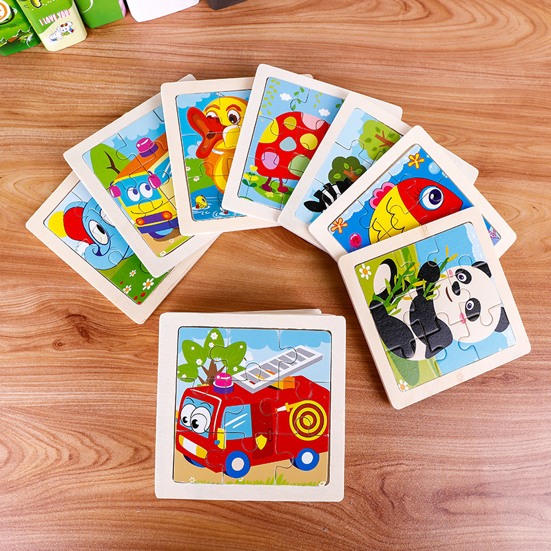 Mini Animal Puzzle Wooden Puzzle 3D Puzzle Jigsaw For Children Baby Cartoon Animal Puzzles Educational Toy 11*11CM