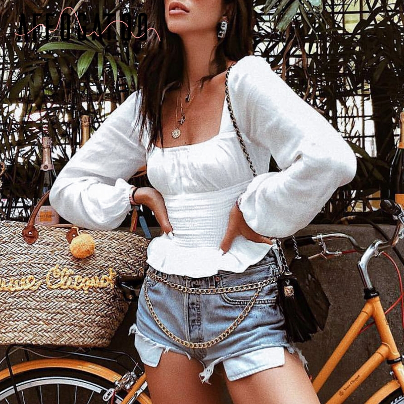 Affogatoo Vintage square collar white   blouse   female Ruffle long sleeve women   blouse     shirt   2019 Summer ladies cropped peplum top