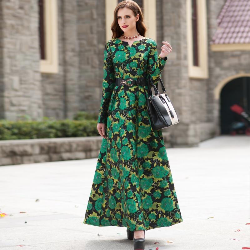 High Quality Newest Fashion Runway Maxi Dress Womens Long Sleeve