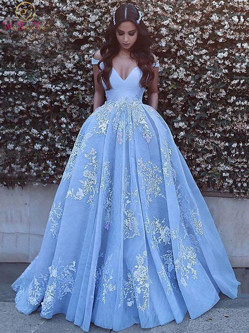 2019 nouveau Quinceanera robes bleu clair col en v épaules nues longueur de plancher robe de bal formelle fête cérémonie longue Graduation robes