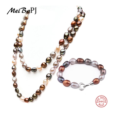 [MeiBaPJ]Fashion baroque real pearl set Hot selling 925 sterling silver jewelry for women 10-11mm with gift box