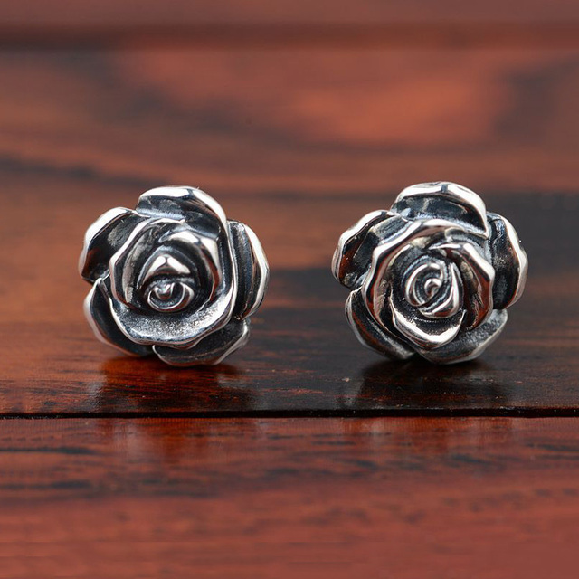 Vintage 925 Silver Stud Earring Gz Rose Flower Boucle D Oreille S925 Sterling Earrings