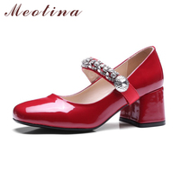 Meotina Women Mary Janes Shoes Crystal Shoes Luxury High Heels Pumps Rhinestone Patent Leather Designer Red