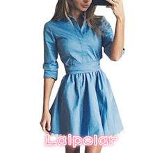 2018 Fashion Women Denim Dress Long Sleeve Casual Slim Dresses Autumn Winter Vintage Work Clothes For Vestidos Laipelar