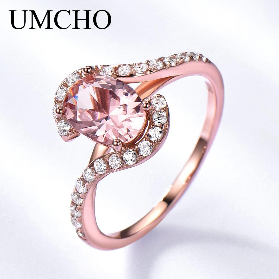 Umcho perak 925 pink sapphire rings untuk wanita engagement partai - Perhiasan bagus - Foto 3