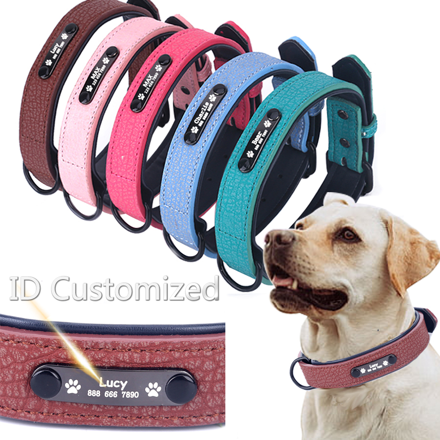 Personalized Dog Collars adjustable Soft Leather Custom Dog Collar Name ID Tags For Cat puppy Large Dogs collar Pet Accessories|Collars|   - AliExpress