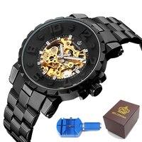 ساعة يد رجالي من ام جي اوركينا آلية هيكل عظمي ساعة يد رجالي من الاستانلس استيل + صندوق هدايا-في الساعات الميكانيكية من الساعات على