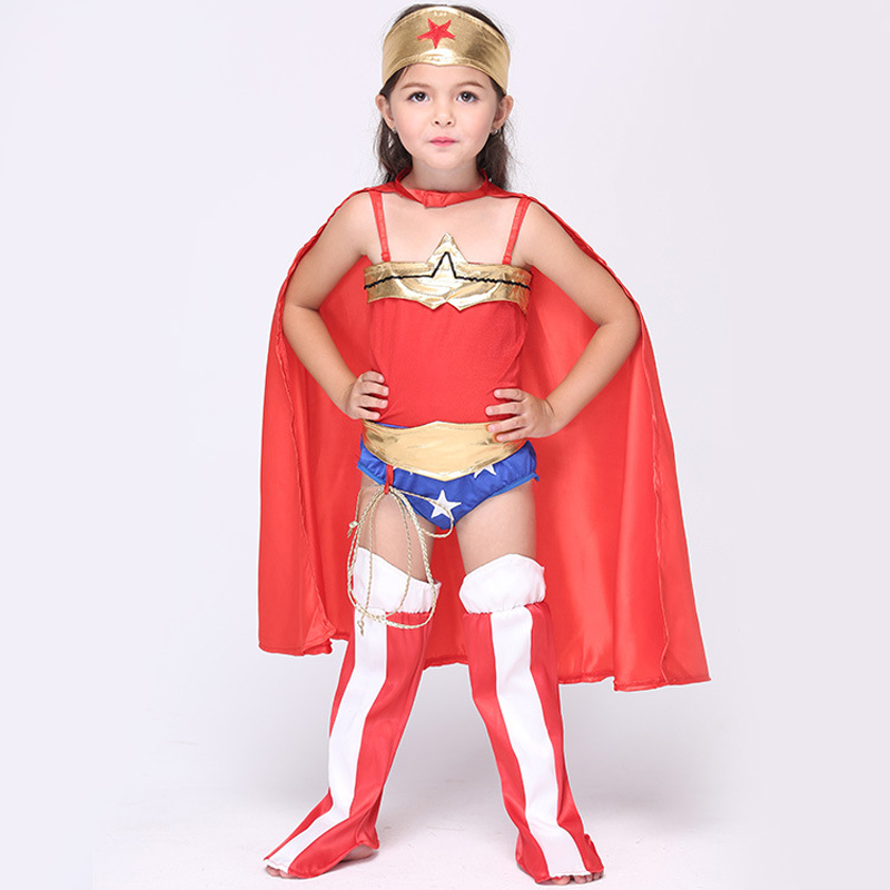 6pcs Clothing Set for 3 8 Years Kids Red Children's Wonder Girl Cosplay Anime Costume Baby Girls Halloween Playful Clothes