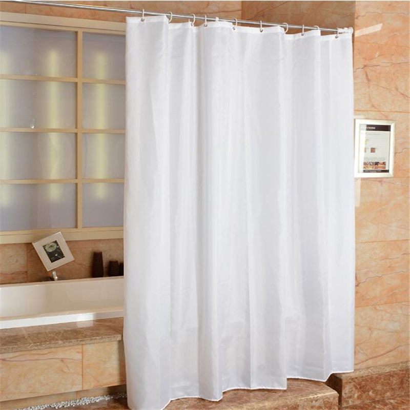 High Quality Hotel Specific White Shower Curtain Polyester Cloth Bracelet Bathroom Curtains White Bathroom