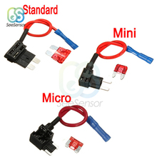 12V Fuse Holder Add-a-circuit TAP Adapter Micro Mini Standard ATM APM Blade Auto with 10A Car