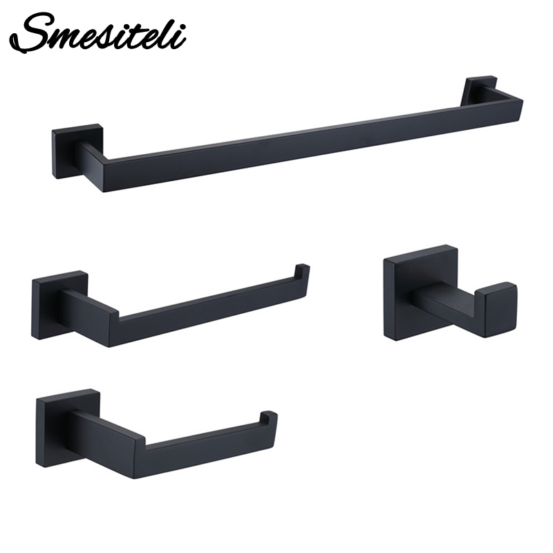 цена Bathroom Hardware Set Black Robe Hook Towel Rail Bar Rack Bar Shelf Tissue Paper Holder Toothbrush Holder Bathroom Accessories