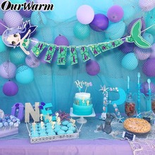 OurWarm 140cm Mermaid Party Happy Birthday Banner Kids Flag Girl Favor Supply Under the Sea Decor