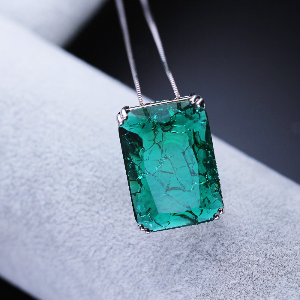 New gift Lab created fusion stone square shape pendant necklace big pendant fashion jewelry for women gift NFX001802