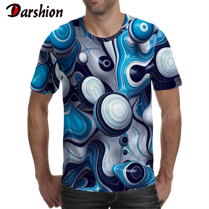 2019 Newest 3D Print Men Tshirt Fashion Short Sleeve T Shirt Men Summer Casual Printing Mens Tshirt Vertigo Colorful Tops Tees