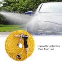 Expandable Garden Hose Water Spray Suit Car Wash Water Gun Set Full Copper Water Gun +TPE Antifreeze Belt Watering Device