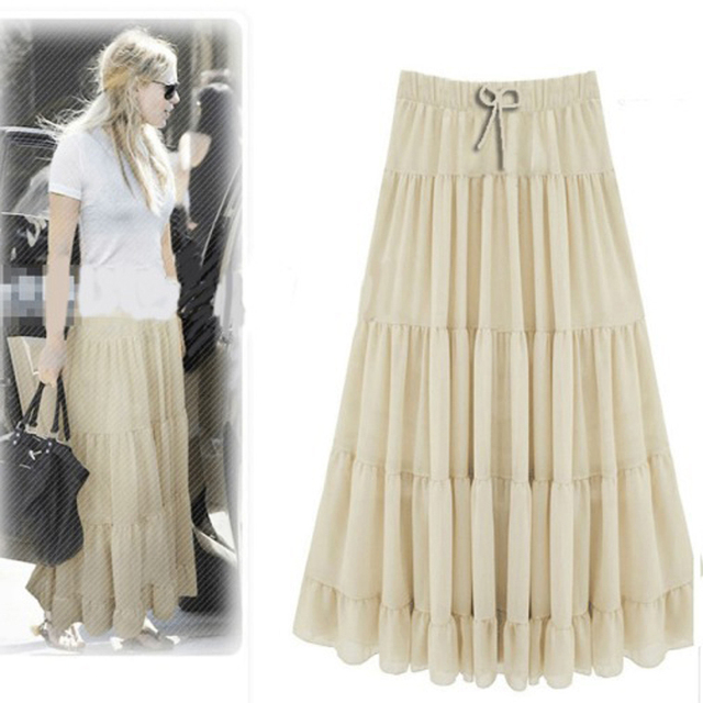 d2e9774d40441 New Summer Style Long Chiffon Skirts 2017 Plus Size High Waist Womens Maxi  Skirt Elastic Waist Loose Fold Pleated Skirt
