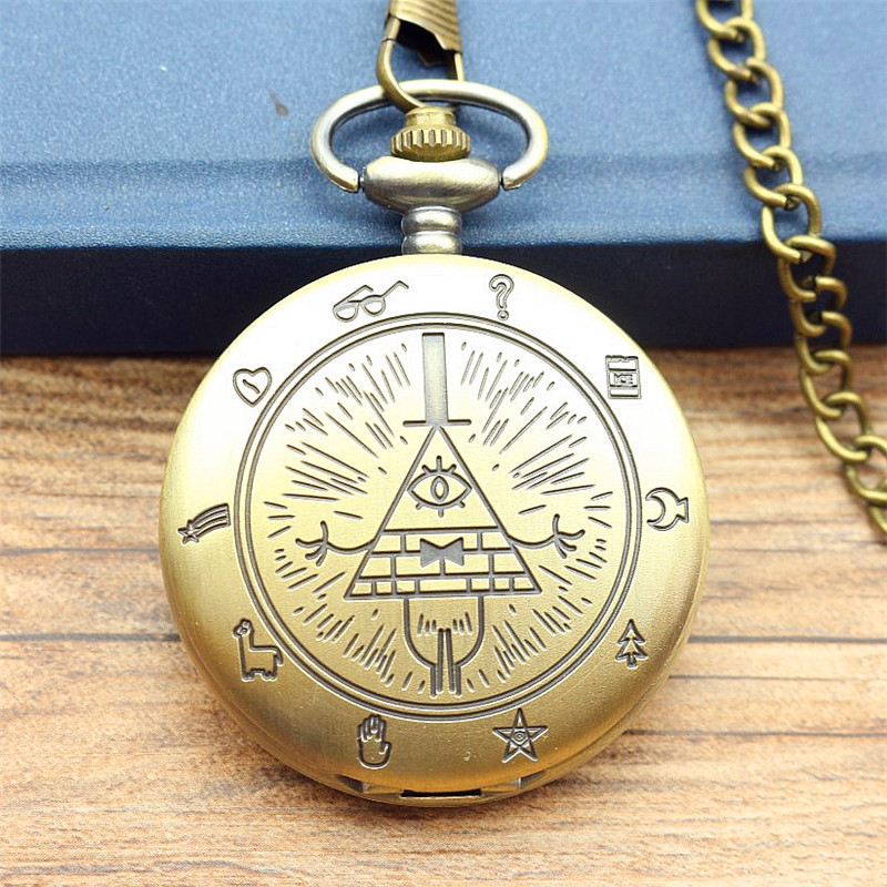 New Fashion Bill Cipher Gravity Falls Quartz Pocket Watch Analog Pendant Necklace Men Women Kid Watches Chain Gift Retro Vintage new fashion vintage bronze vintage pendant pocket watch loki quartz watches with necklace chain cool gift for men women children