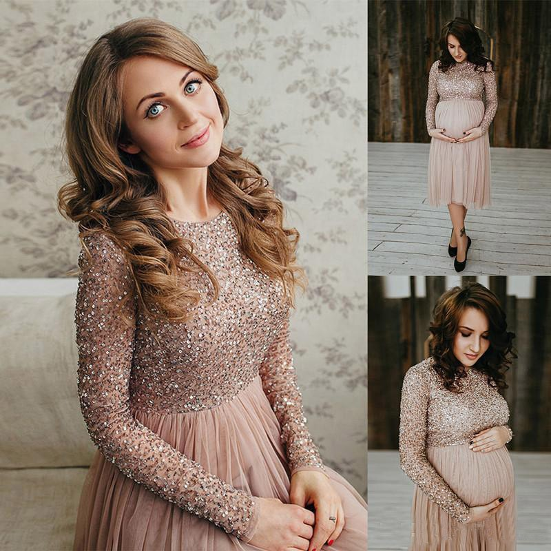 robe de soiree A Line   Prom     Dresses   2019 Empire Sequins Long Sleeves Short Pregnant   Prom     Dresses   Plus Size Formal   Dresses