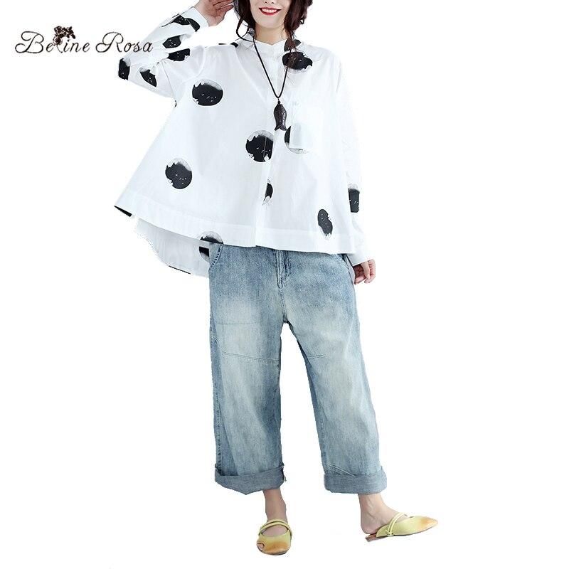 BelineRosa 2017 Womens Plus Size Clothes Big Polka Dot European Fashion Long Sleeve Autumn Large Size Women Blouses YK000012