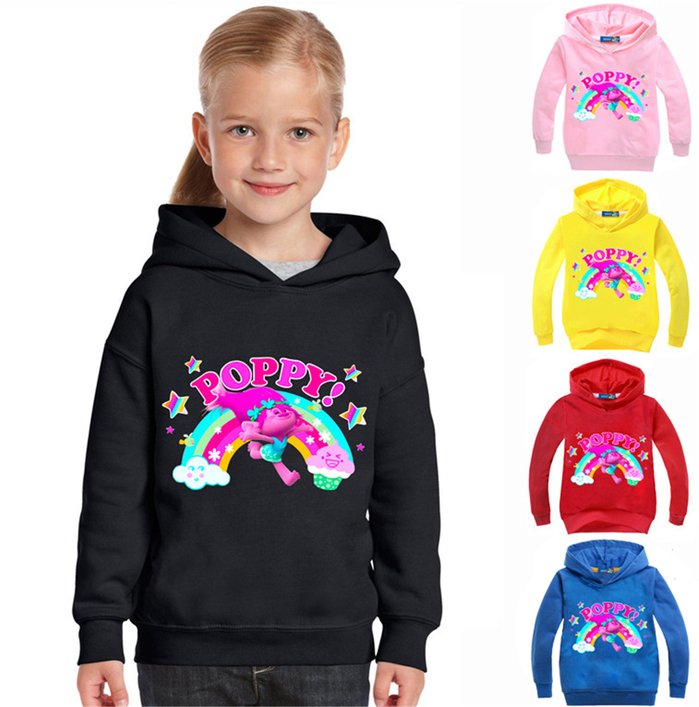New 2017 Spring and AutumnTrolls Jackets for Girls and Boys Sweatshirt Baby Girl Poppy Kids Cartoon Hooded Children Clothing