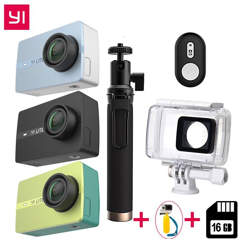International Pour Xiaomi YI Lite Caméra D'action 16MP Vrai 4 k Caméra De Sport Bluetooth WIFI 2 Écran D'AFFICHAGE à CRISTAUX LIQUIDES de Contact l'EIE 150 Degrés Lentille