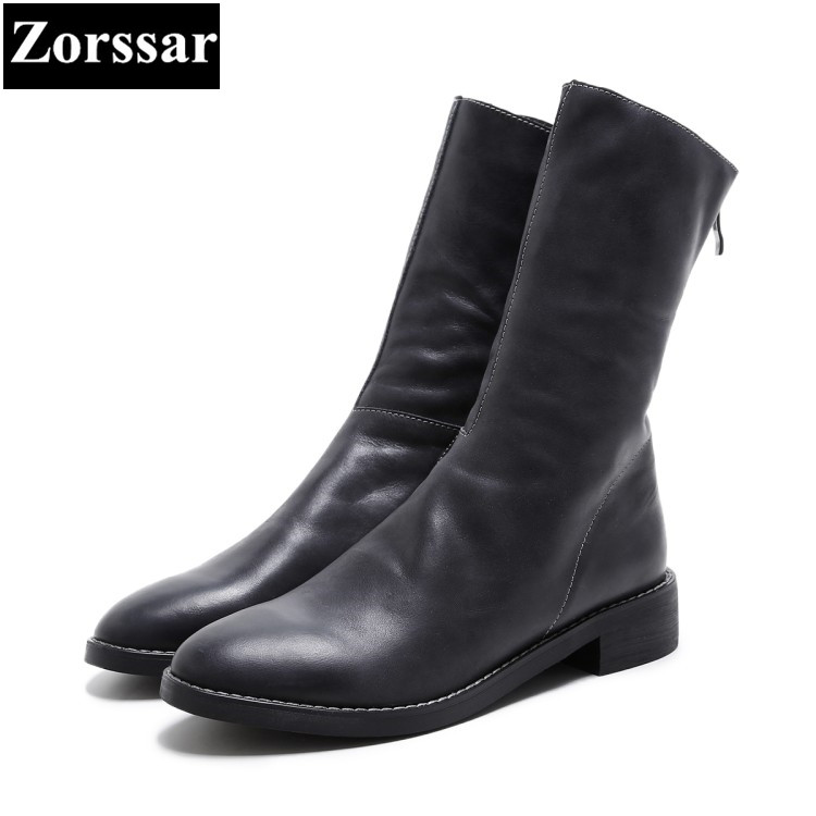{Zorssar} 2018 NEW fashion women cowboy boots Cow leather comfort Thick heel Low heels Mid-Calf boots winter women shoes double buckle cross straps mid calf boots