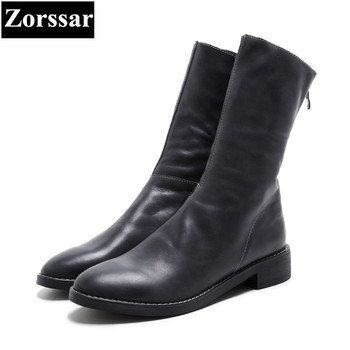 {Zorssar} 2018 NEW fashion women cowboy boots Cow leather comfort Thick heel Low heels Mid-Calf boots winter women shoes