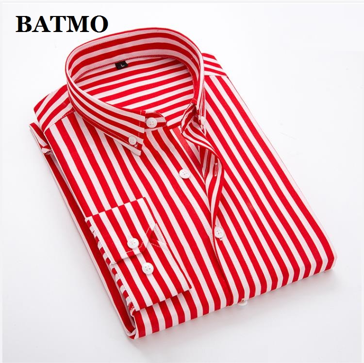 Batmo 2019 New Arrival Spring High Quality Stirped Casual Red Shirts Men,men's Striped Shirts,white Shirts Men Plus-size S-5XL